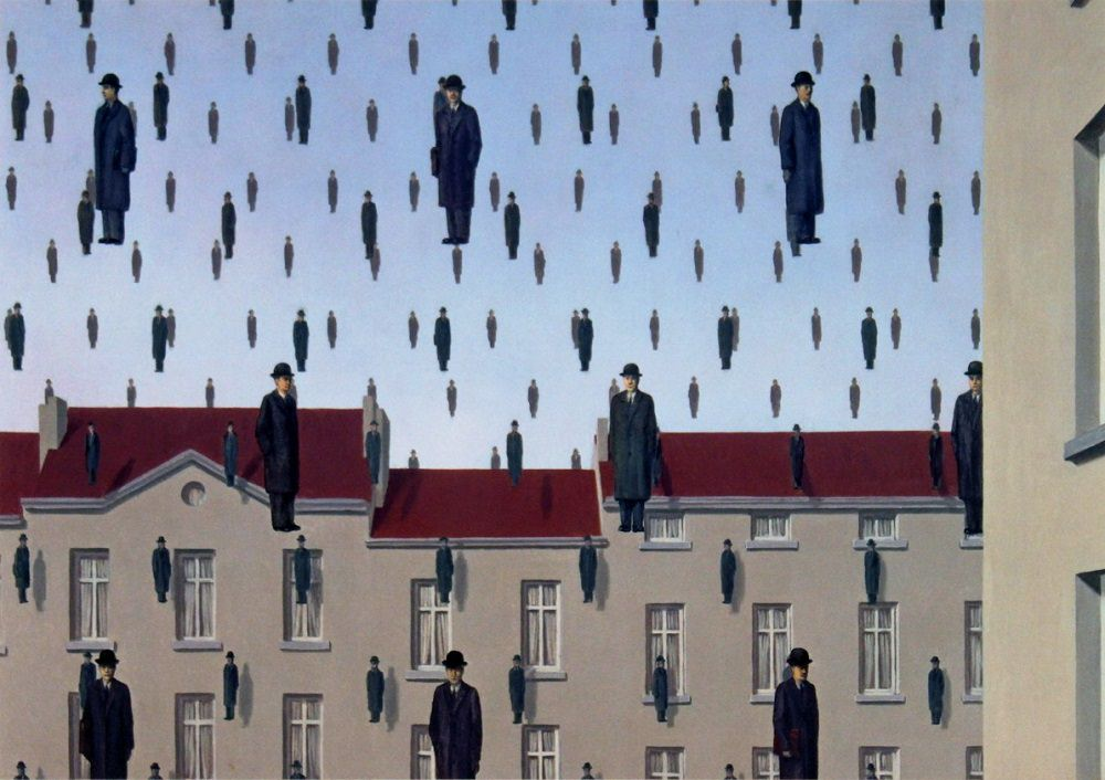 Rene Magritte, Golconda, oil painting, 1953.